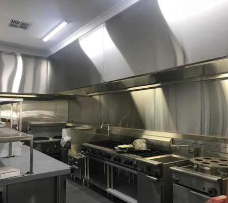 Commercial Kitchen canopy hood and two ventilation exhaust fans in Perth